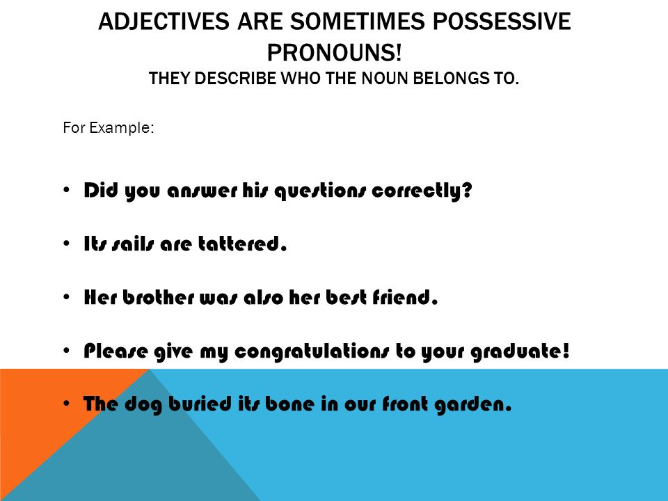 ADJECTIVES ARE SOMETIMES POSSESSIVE PRONOUNS. THEY DESCRIBE WHO THE NOUN BELONGS TO.