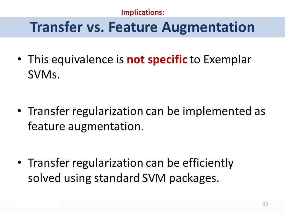 Implications: Transfer vs. Feature Augmentation This equivalence is not specific to Exemplar SVMs.