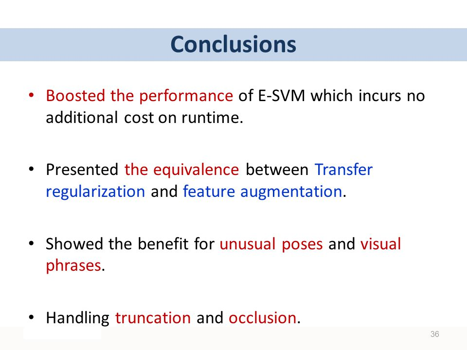 36 Conclusions Boosted the performance of E-SVM which incurs no additional cost on runtime.