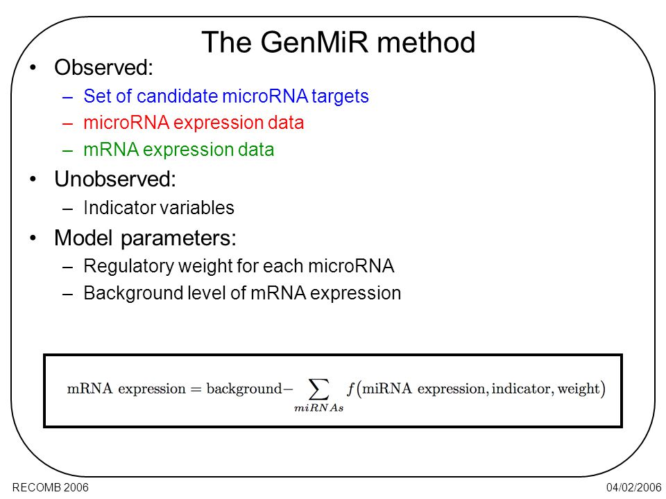 04/02/2006RECOMB 2006 Observed: –Set of candidate microRNA targets –microRNA expression data –mRNA expression data Unobserved: –Indicator variables Model parameters: –Regulatory weight for each microRNA –Background level of mRNA expression The GenMiR method