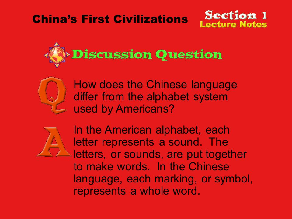 How does the Chinese language differ from the alphabet system used by Americans.