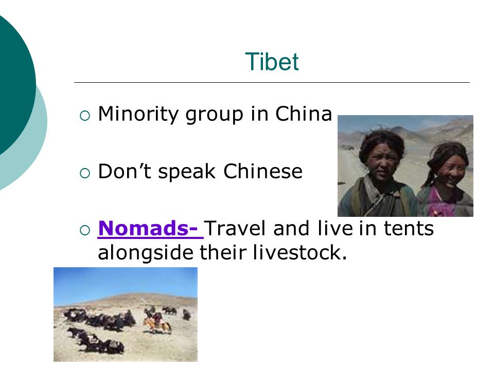 Tibet  Minority group in China  Don't speak Chinese  Nomads- Travel and live in tents alongside their livestock.