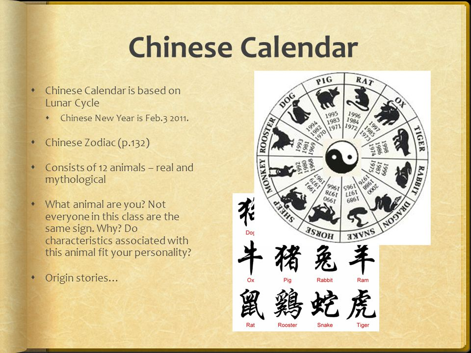 Chinese Calendar  Chinese Calendar is based on Lunar Cycle  Chinese New Year is Feb
