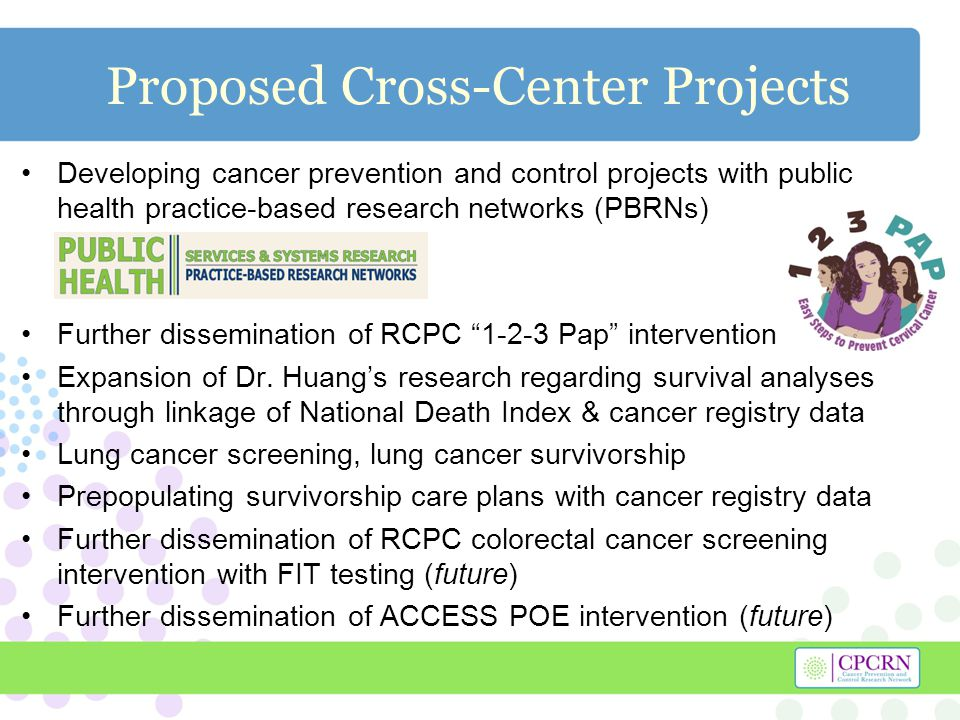 Proposed Cross-Center Projects Developing cancer prevention and control projects with public health practice-based research networks (PBRNs) Further dissemination of RCPC Pap intervention Expansion of Dr.