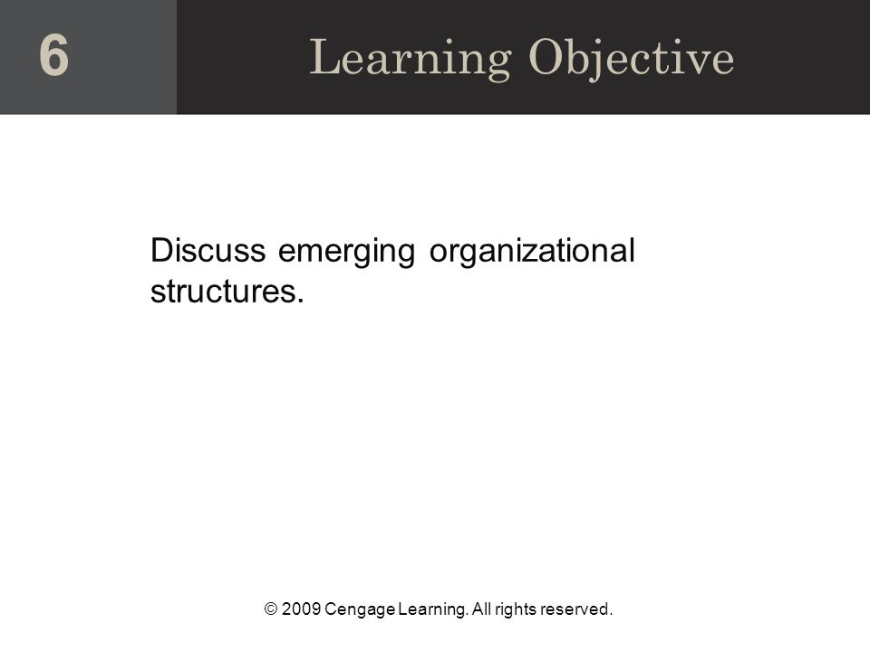 © 2009 Cengage Learning. All rights reserved. Discuss emerging organizational structures.