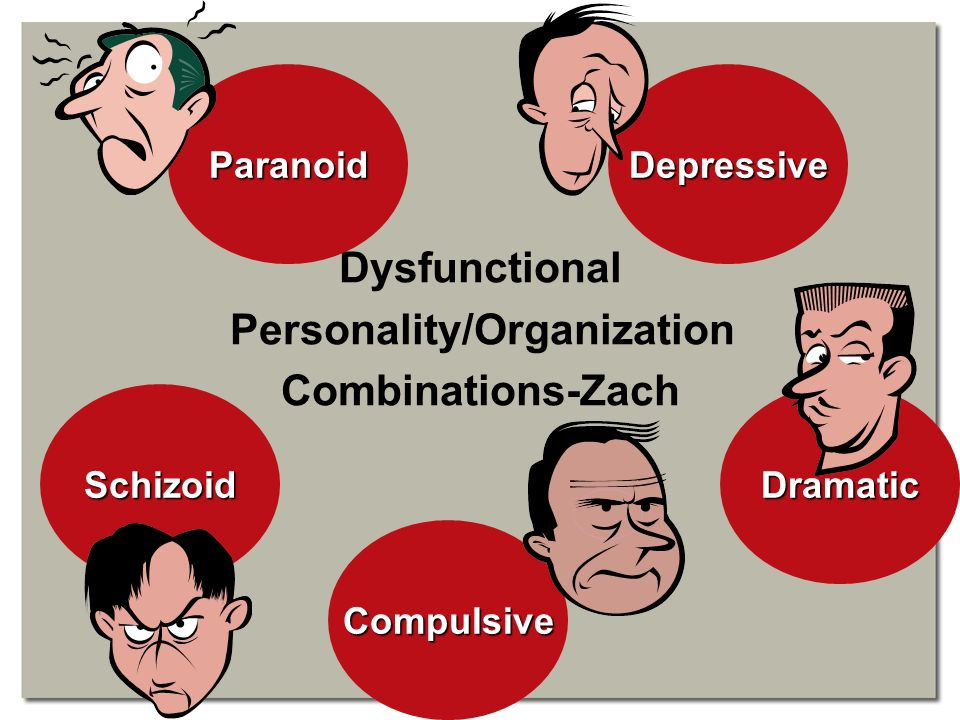 Dysfunctional Personality/Organization Combinations-Zach Paranoid Dramatic Compulsive Schizoid Depressive