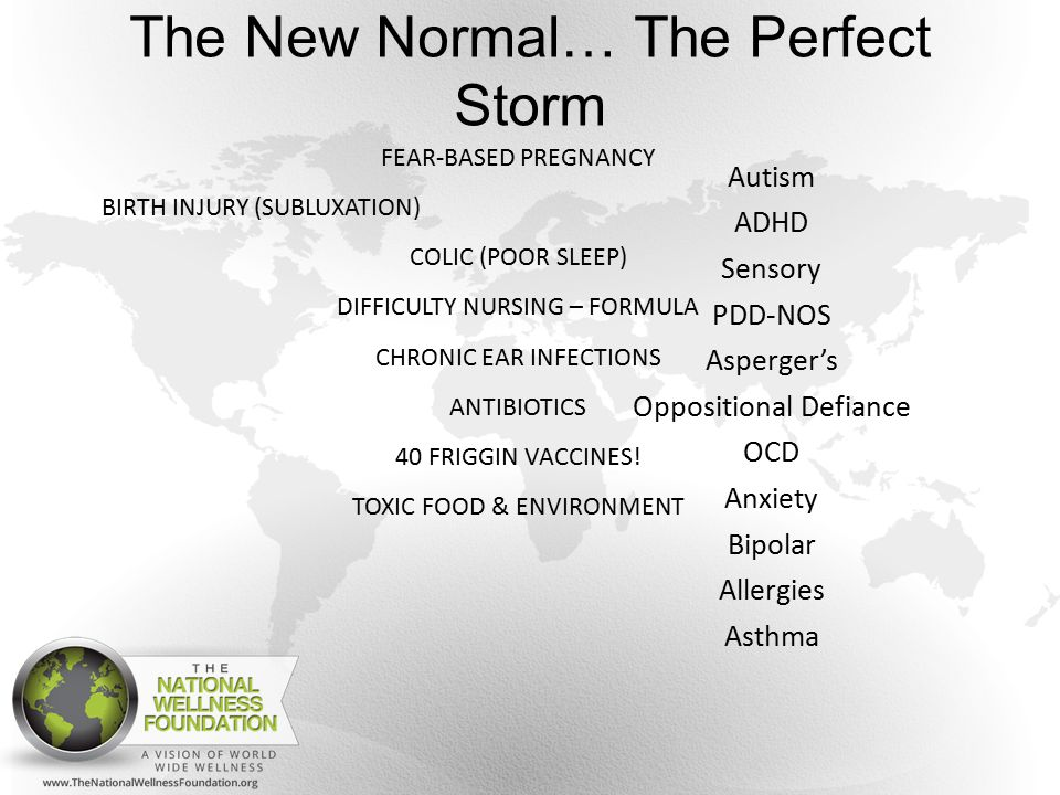 The New Normal… The Perfect Storm Autism ADHD Sensory PDD-NOS Asperger's Oppositional Defiance OCD Anxiety Bipolar Allergies Asthma FEAR-BASED PREGNANCY BIRTH INJURY (SUBLUXATION) COLIC (POOR SLEEP) DIFFICULTY NURSING – FORMULA CHRONIC EAR INFECTIONS ANTIBIOTICS 40 FRIGGIN VACCINES.