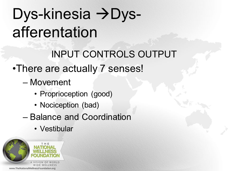 Dys-kinesia  Dys- afferentation INPUT CONTROLS OUTPUT There are actually 7 senses.