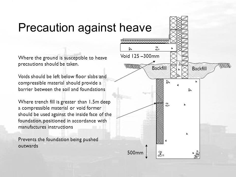 Precaution against heave Where the ground is susceptible to heave precautions should be taken.