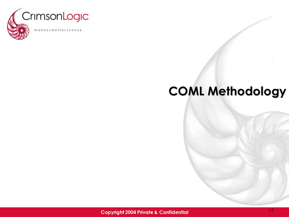 Copyright 2004 Private & Confidential 16 COML Methodology