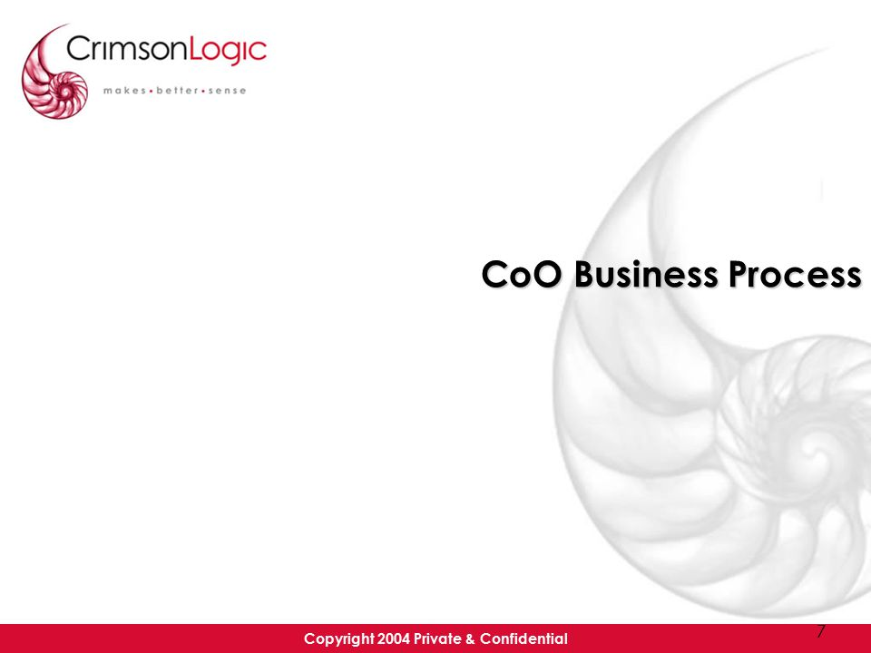 Copyright 2004 Private & Confidential 7 CoO Business Process