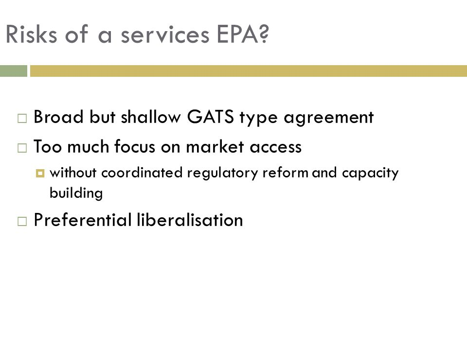 Risks of a services EPA.