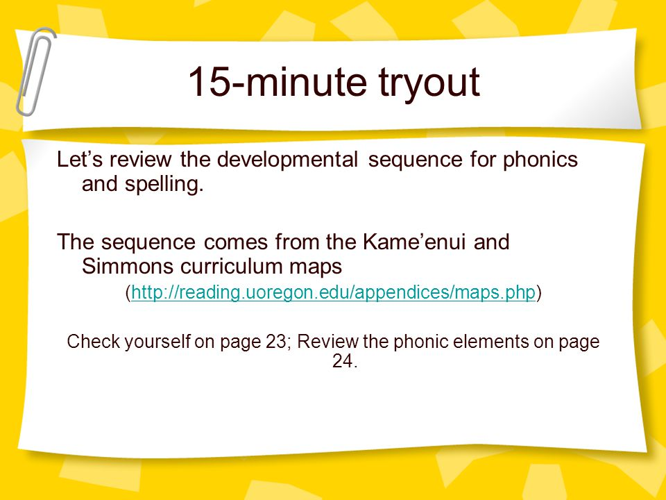 15-minute tryout Let's review the developmental sequence for phonics and spelling.