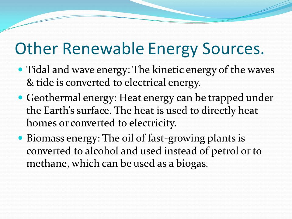 Other Renewable Energy Sources.