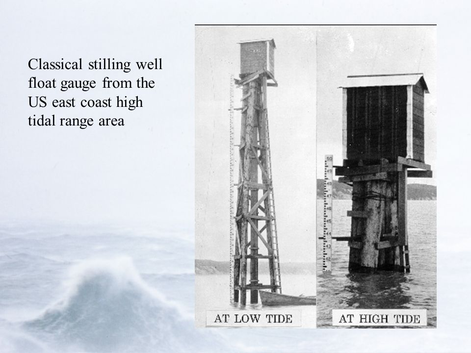 Classical stilling well float gauge from the US east coast high tidal range area