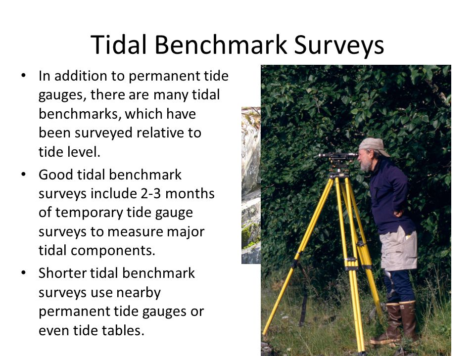 Tidal Benchmark Surveys In addition to permanent tide gauges, there are many tidal benchmarks, which have been surveyed relative to tide level.