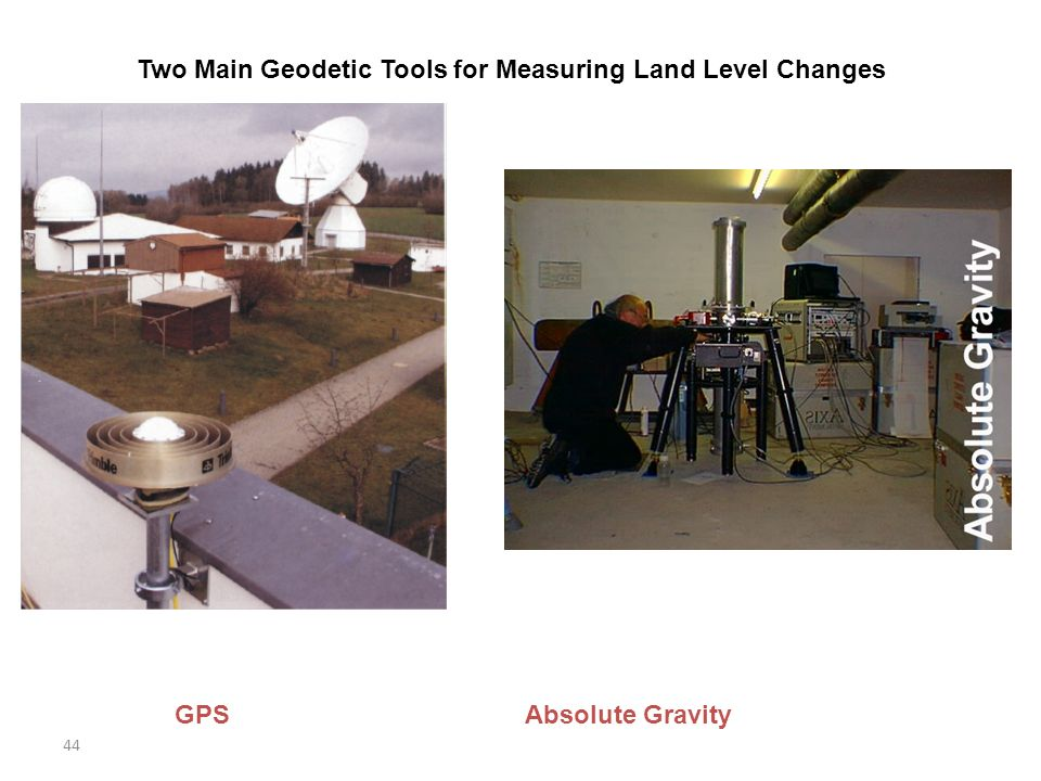 44 Two Main Geodetic Tools for Measuring Land Level Changes GPS Absolute Gravity