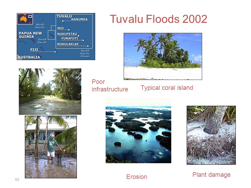 62 Tuvalu Floods 2002 Typical coral island Poor infrastructure Erosion Plant damage