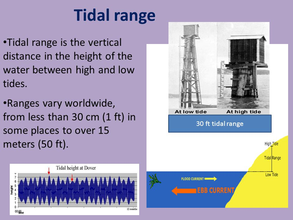 Tidal range is the vertical distance in the height of the water between high and low tides.