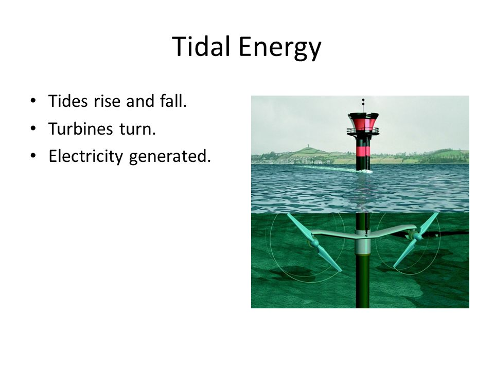 Tidal Energy Tides rise and fall. Turbines turn. Electricity generated.