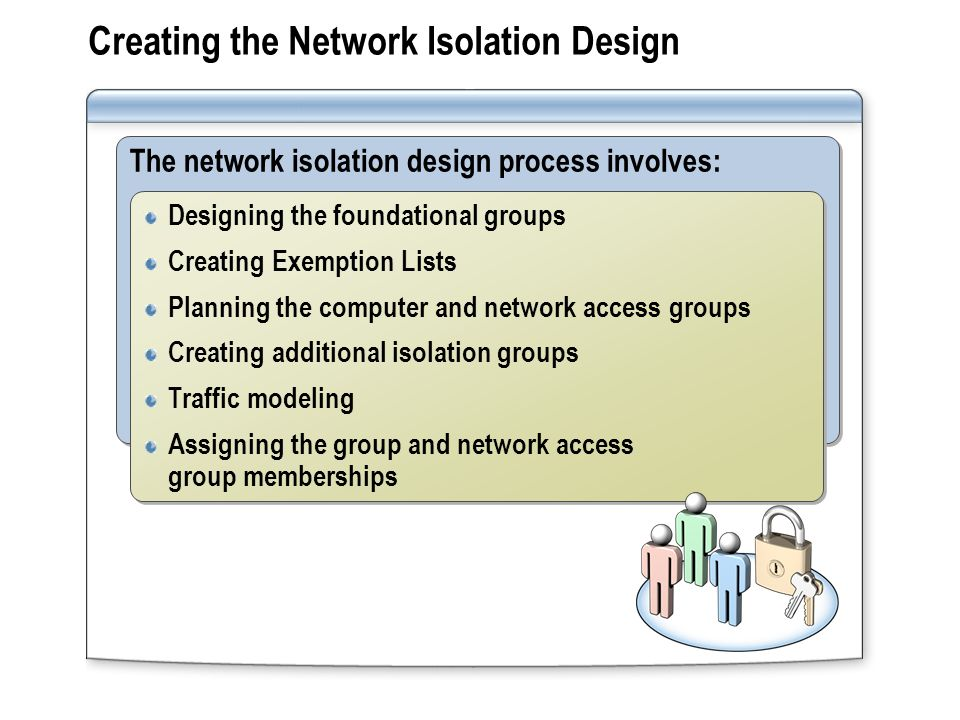 Creating the Network Isolation Design The network isolation design process involves: Designing the foundational groups Creating Exemption Lists Planning the computer and network access groups Creating additional isolation groups Traffic modeling Assigning the group and network access group memberships Designing the foundational groups Creating Exemption Lists Planning the computer and network access groups Creating additional isolation groups Traffic modeling Assigning the group and network access group memberships