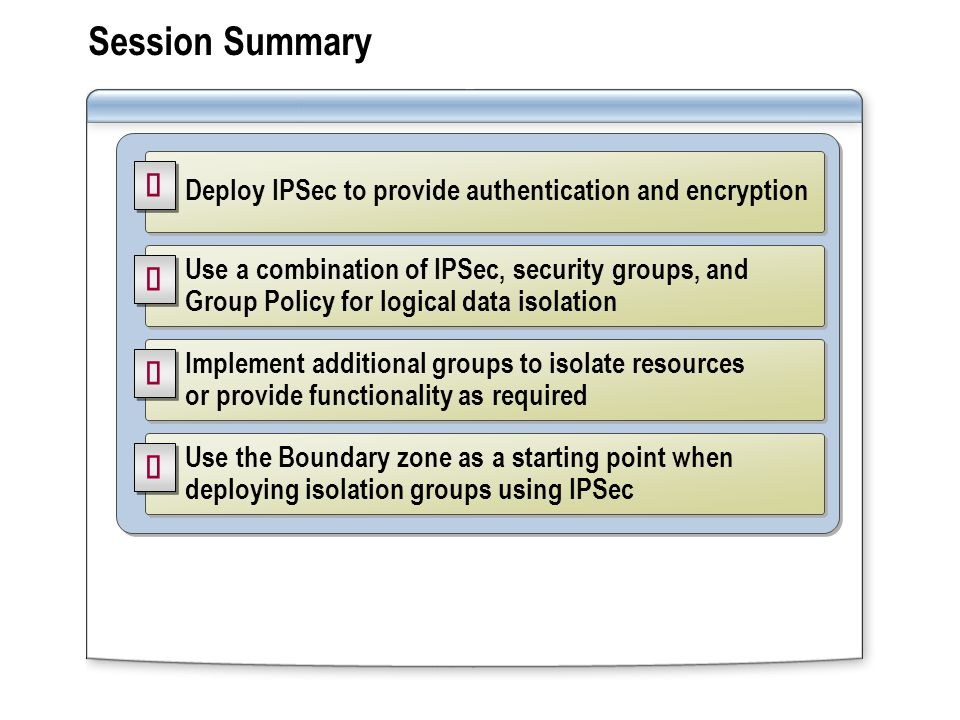 Session Summary Deploy IPSec to provide authentication and encryption Use a combination of IPSec, security groups, and Group Policy for logical data isolation Use the Boundary zone as a starting point when deploying isolation groups using IPSec Implement additional groups to isolate resources or provide functionality as required
