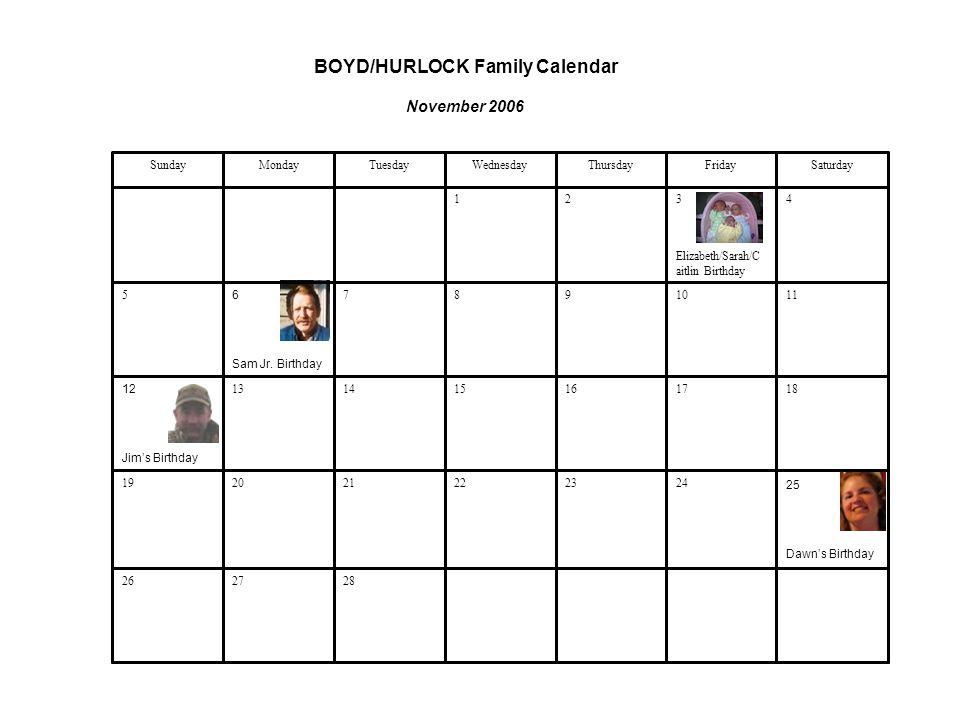 Boyd Hurlock Family Calendar January 2006 The Beginning Of A New