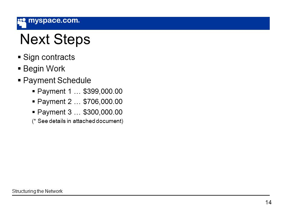 14 Next Steps  Sign contracts  Begin Work  Payment Schedule  Payment 1 … $399,  Payment 2 … $706,  Payment 3 … $300, (* See details in attached document) Structuring the Network