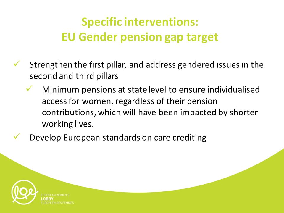 Specific interventions: EU Gender pension gap target Strengthen the first pillar, and address gendered issues in the second and third pillars Minimum pensions at state level to ensure individualised access for women, regardless of their pension contributions, which will have been impacted by shorter working lives.