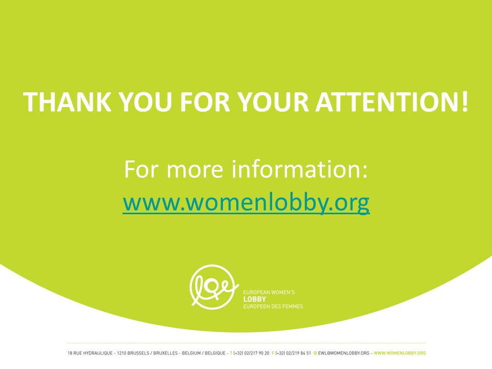 THANK YOU FOR YOUR ATTENTION! For more information: