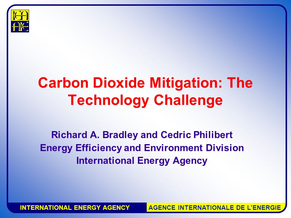 INTERNATIONAL ENERGY AGENCY AGENCE INTERNATIONALE DE L'ENERGIE Carbon Dioxide Mitigation: The Technology Challenge Richard A.