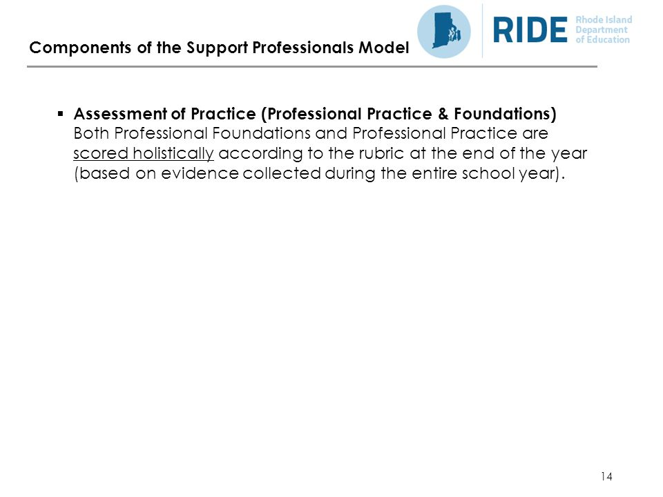 14 Components of the Support Professionals Model  Assessment of Practice (Professional Practice & Foundations) Both Professional Foundations and Professional Practice are scored holistically according to the rubric at the end of the year (based on evidence collected during the entire school year).