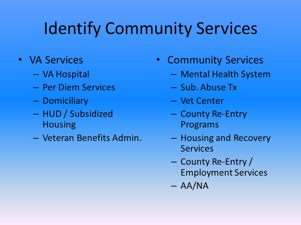 Identify Community Services VA Services – VA Hospital – Per Diem Services – Domiciliary – HUD / Subsidized Housing – Veteran Benefits Admin.