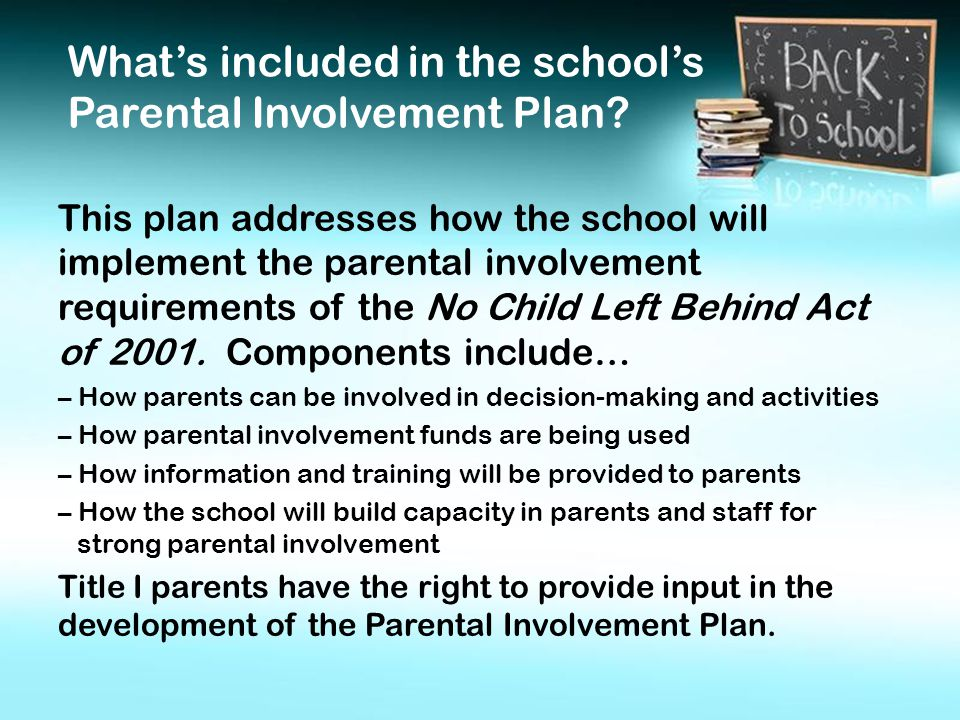 This plan addresses how the school will implement the parental involvement requirements of the No Child Left Behind Act of 2001.