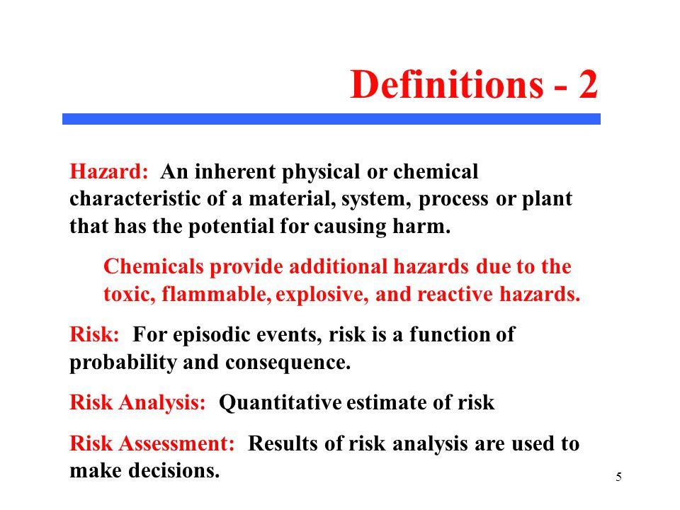 1 Chemical Hazards  2 Purpose of Lectures on Chemical Safety To