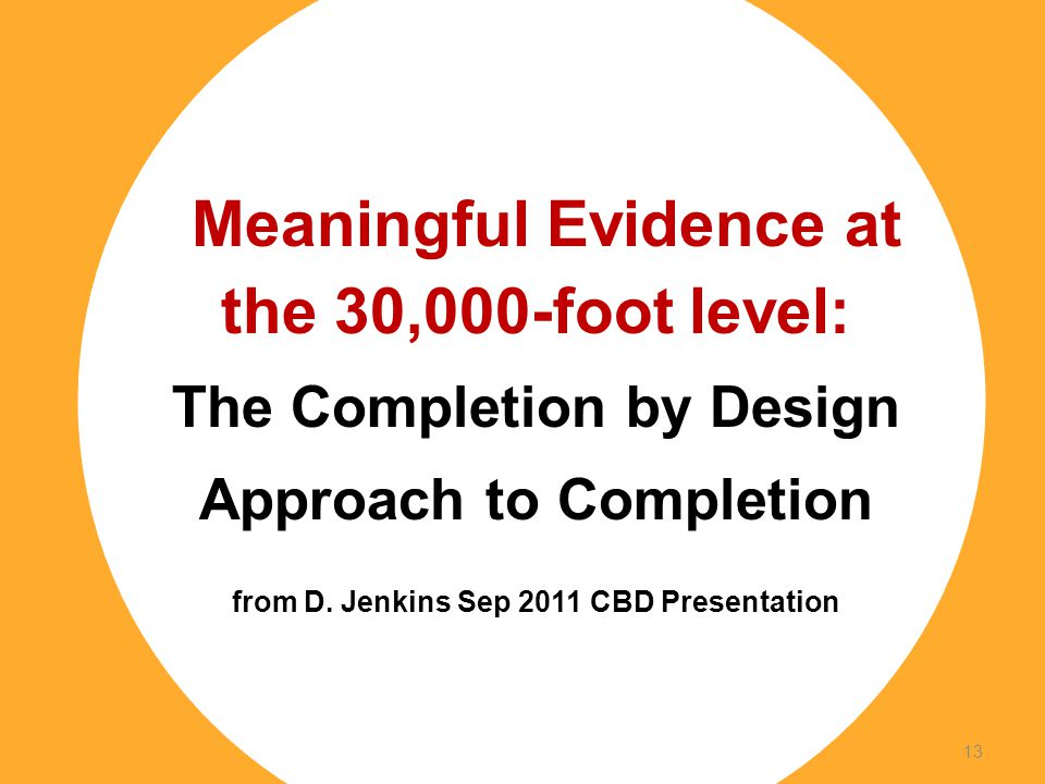 Footer Subtitle Line: Usually Name of Author, Use Regular Not Boldface Meaningful Evidence at the 30,000-foot level: The Completion by Design Approach to Completion from D.