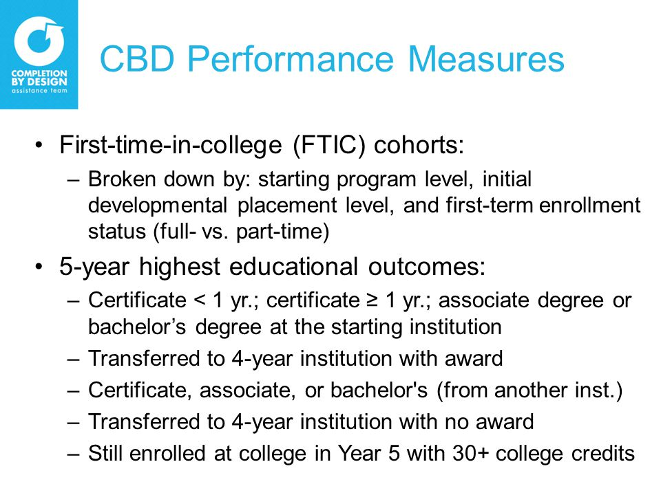 CBD Performance Measures First-time-in-college (FTIC) cohorts: –Broken down by: starting program level, initial developmental placement level, and first-term enrollment status (full- vs.