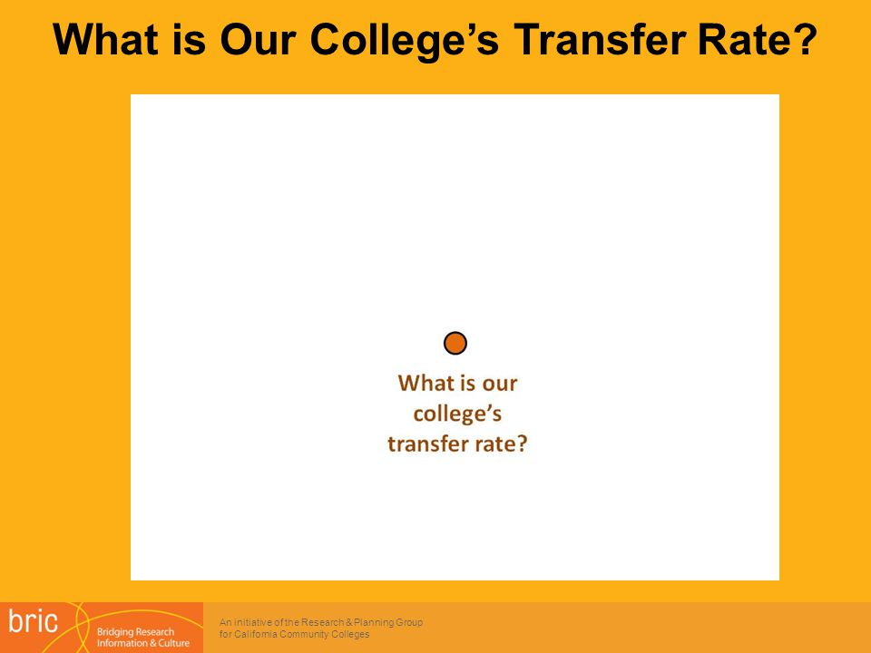 An initiative of the Research & Planning Group for California Community Colleges What is Our College's Transfer Rate