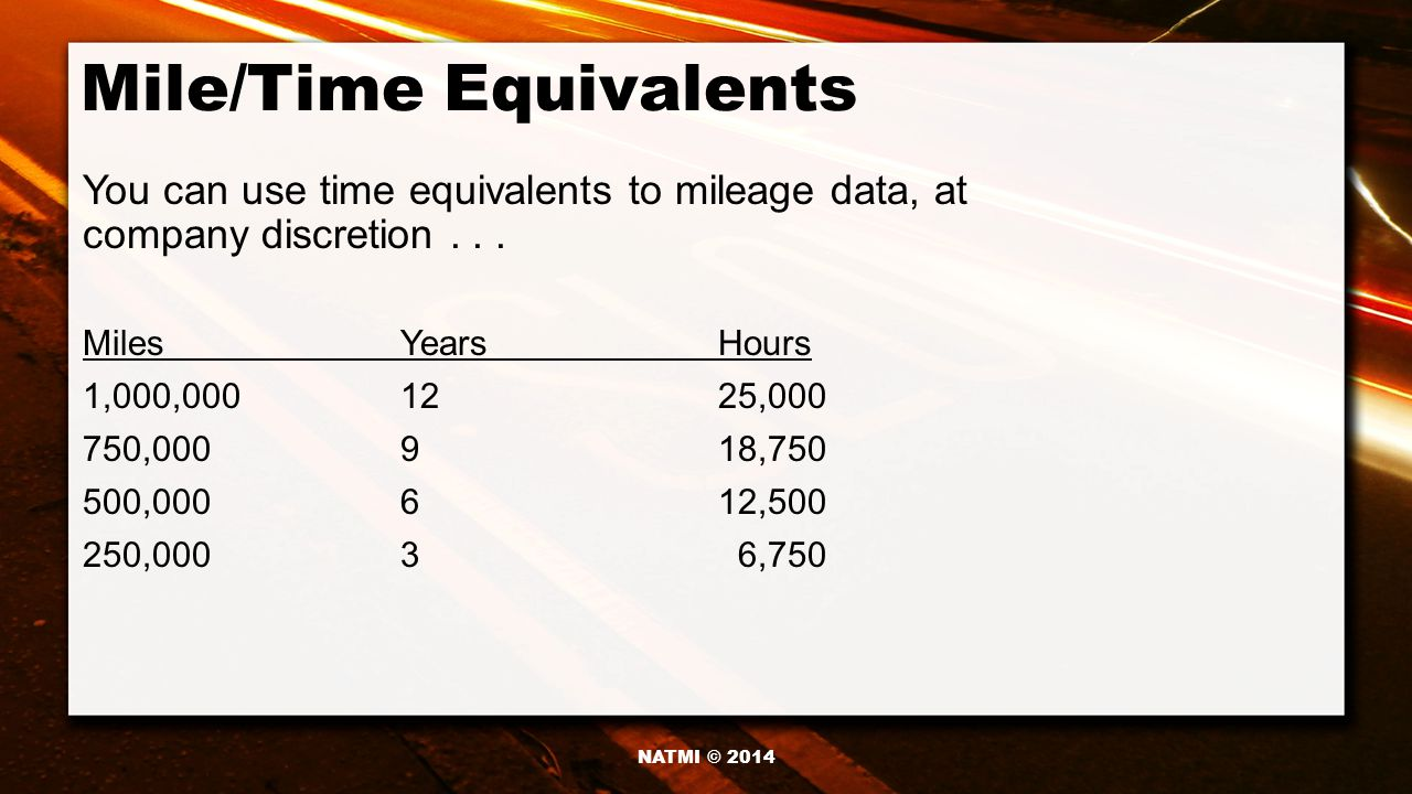 Mile/Time Equivalents You can use time equivalents to mileage data, at company discretion...