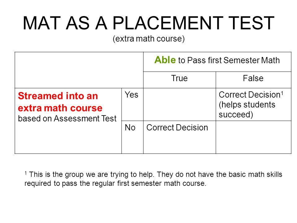 MATH ASSESSMENT TEST OCMA May, HISTORY OF MAT Test originally ...