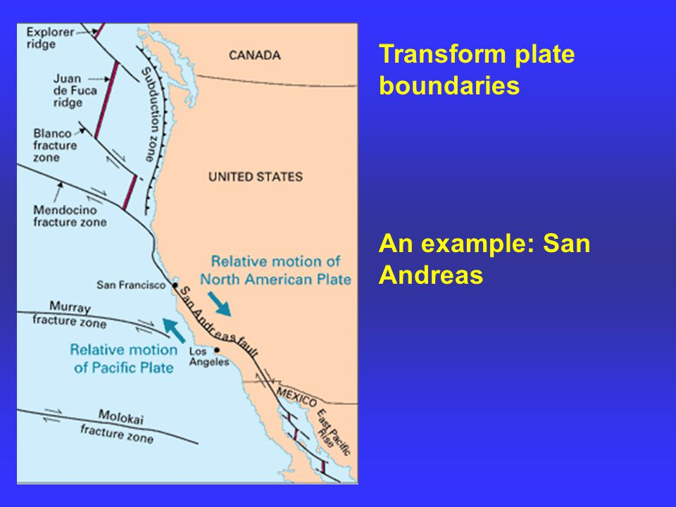 Transform plate boundaries An example: San Andreas