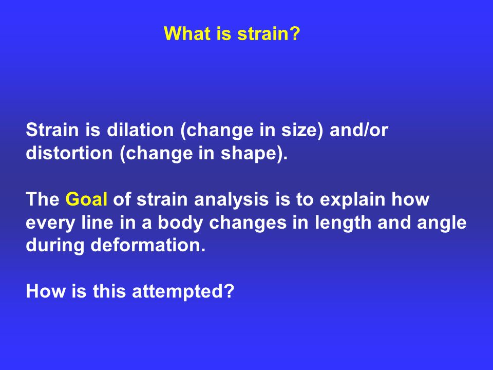 What is strain. Strain is dilation (change in size) and/or distortion (change in shape).