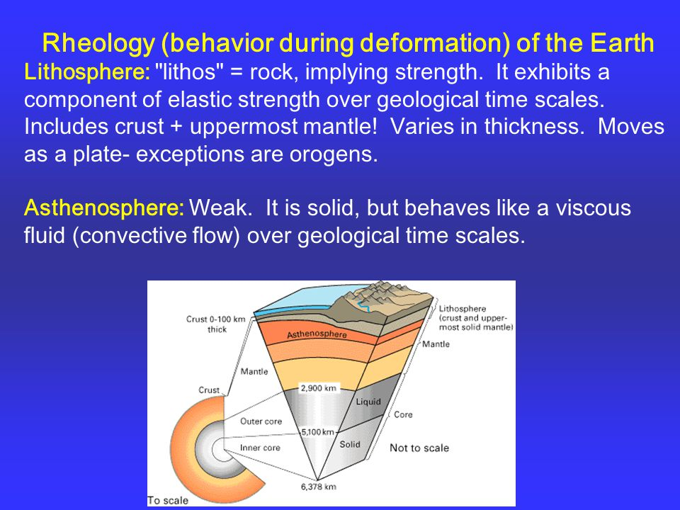 Rheology (behavior during deformation) of the Earth Lithosphere: lithos = rock, implying strength.