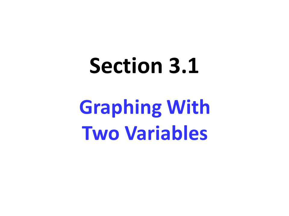 Section 3.1 Graphing With Two Variables
