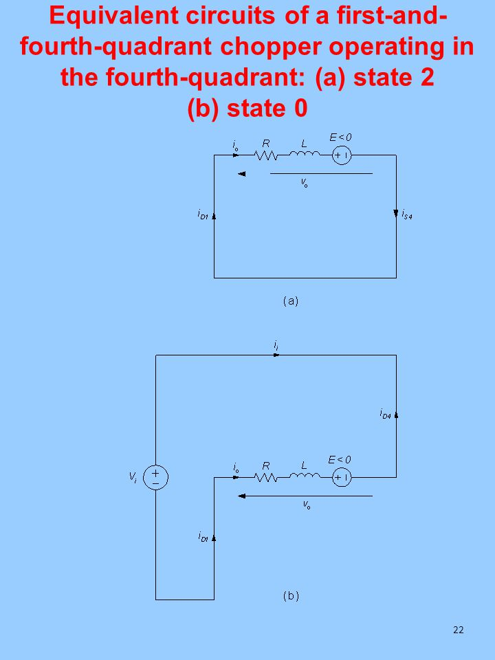 Equivalent circuits of a first-and- fourth-quadrant chopper operating in the fourth-quadrant: (a) state 2 (b) state 0 22