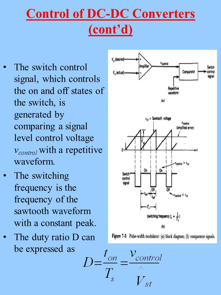 Control of DC-DC Converters (cont'd) The switch control signal, which controls the on and off states of the switch, is generated by comparing a signal level control voltage v control with a repetitive waveform.