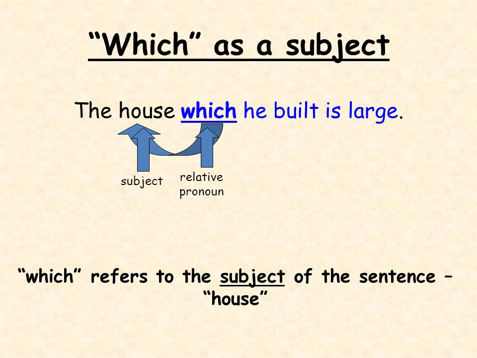 Which as a subject The house which he built is large.