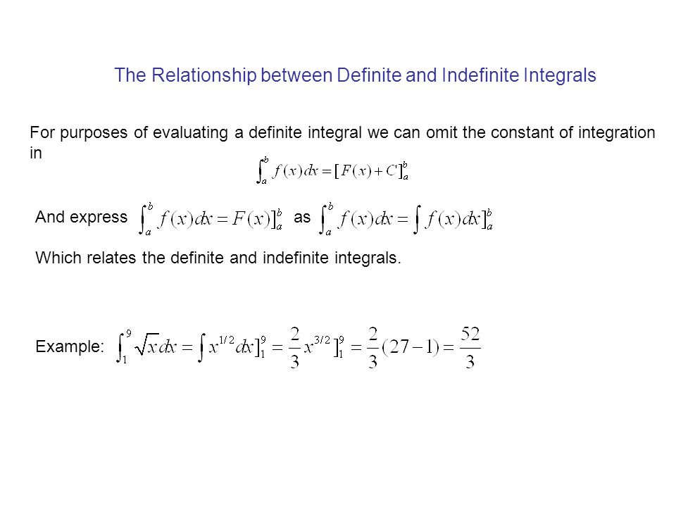 The Relationship between Definite and Indefinite Integrals For purposes of evaluating a definite integral we can omit the constant of integration in And express as Which relates the definite and indefinite integrals.
