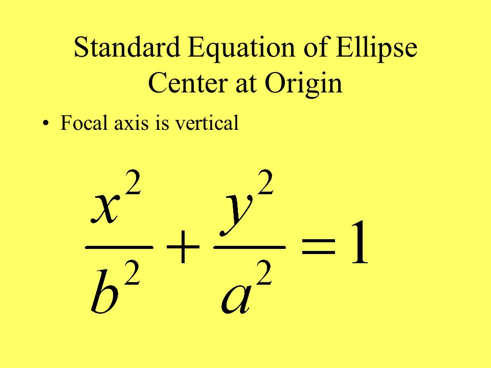 Standard Equation of Ellipse Center at Origin Focal axis is vertical
