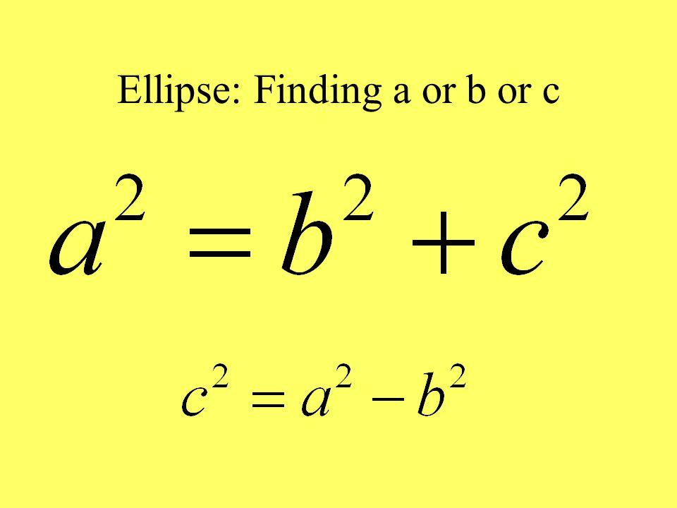 Ellipse: Finding a or b or c